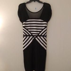 Bebe Black & White Body Con Midi Dress NEW